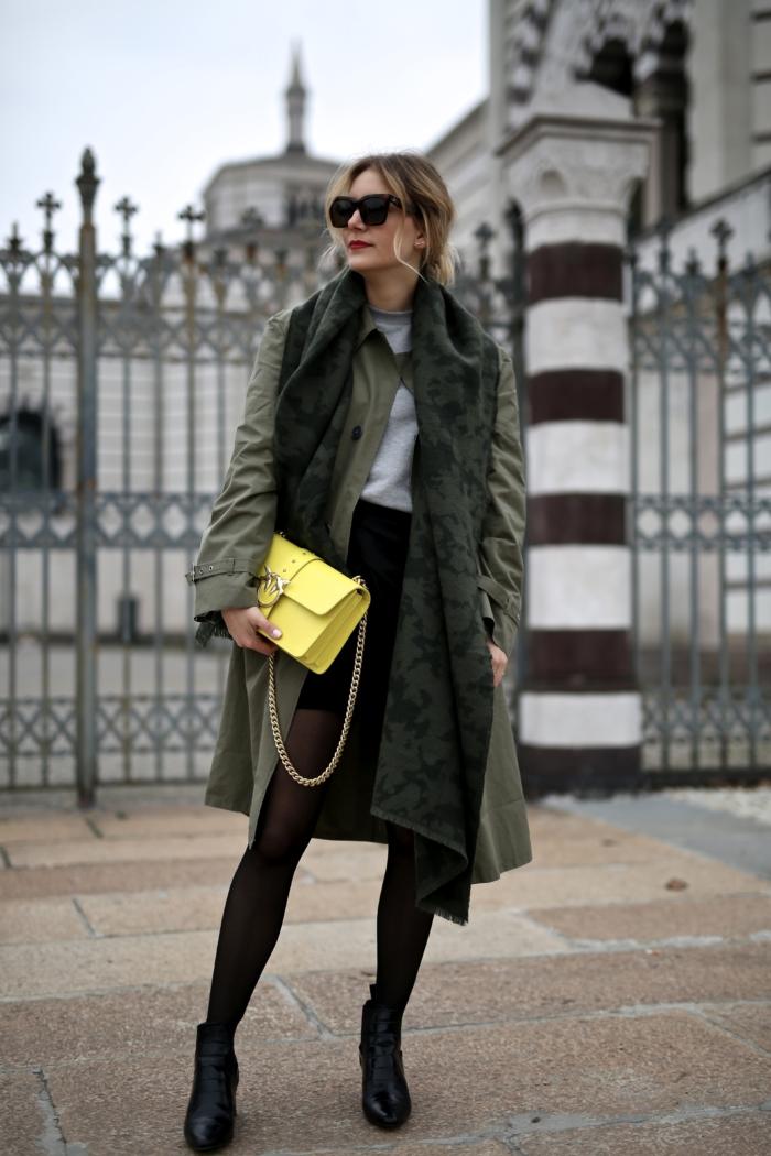 Pinko P. Jean trenchcoat, yellow statement purse, black skirt, grey sweater