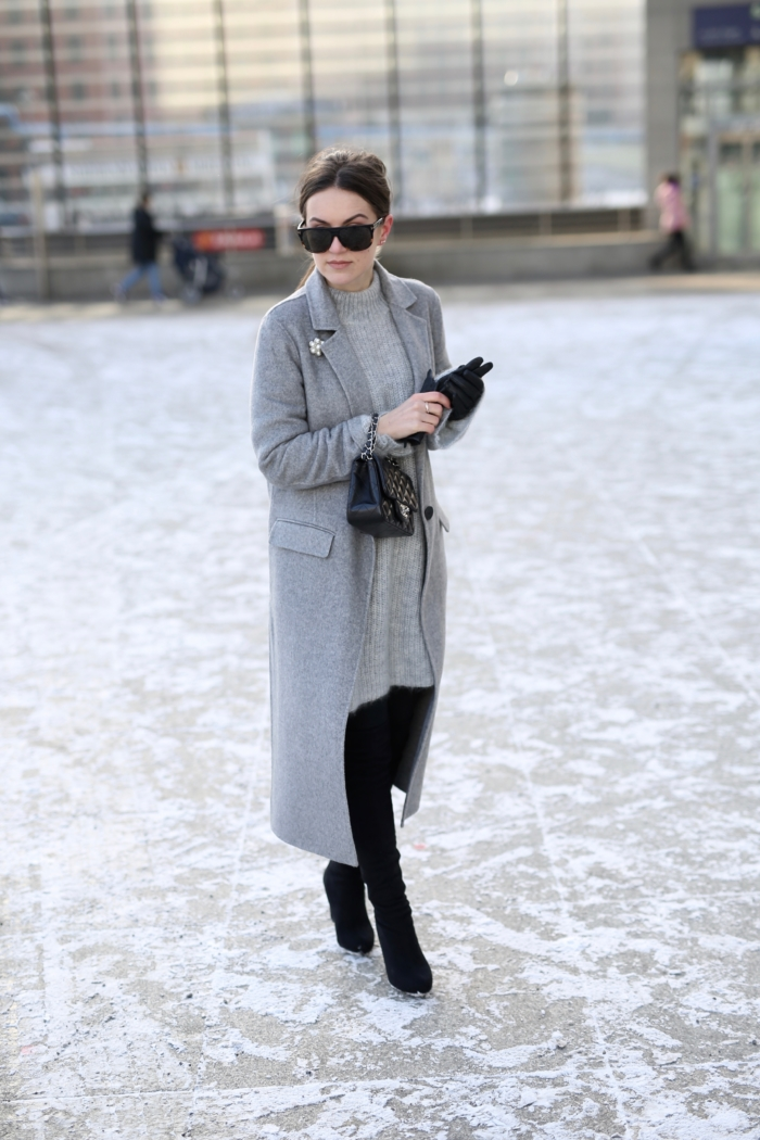 Tom Ford sunglasses, Chanel purse, grey coat, knitted sweater, overknee boots