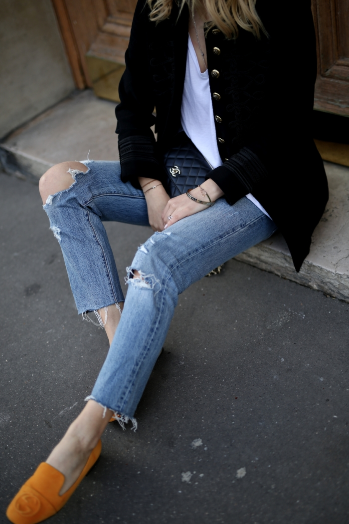 ripped jeans, chanel