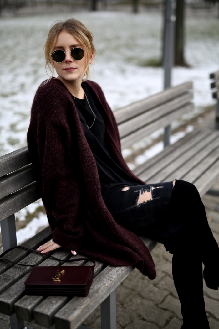 ray-ban shades, red cardigan, black shirt, overknee boots