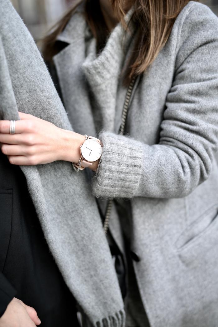 grey coat, Cluse watch, scarf