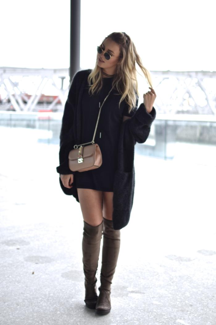 blonde, black outfit, brown overknees, nude bag