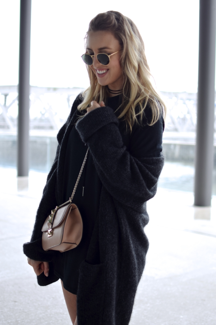 sunglasses, knitted cardigan, black shirt dress