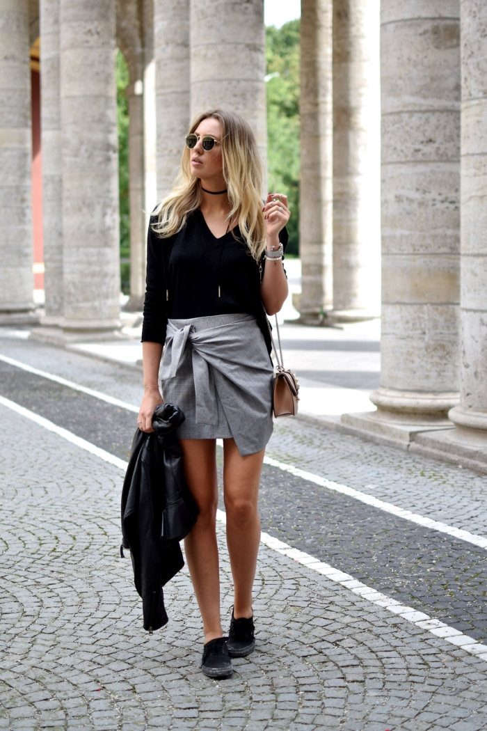 grey wrap skirt, black top, choker, leather jacket