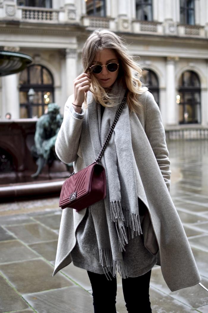 grey scarf, wool coat, Chanel bag