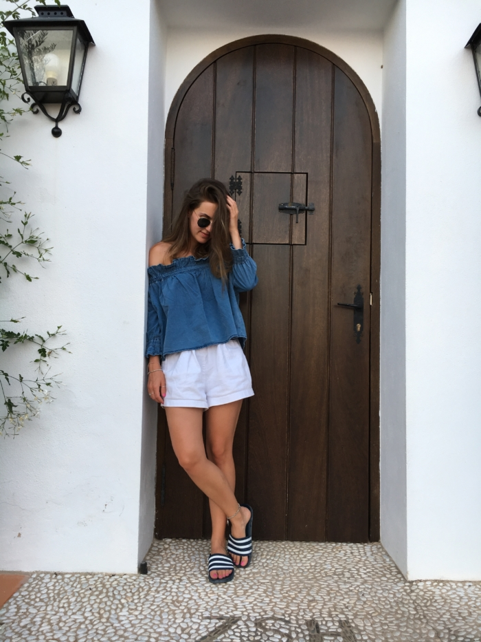 offshoulder style streetstyle vacation denim