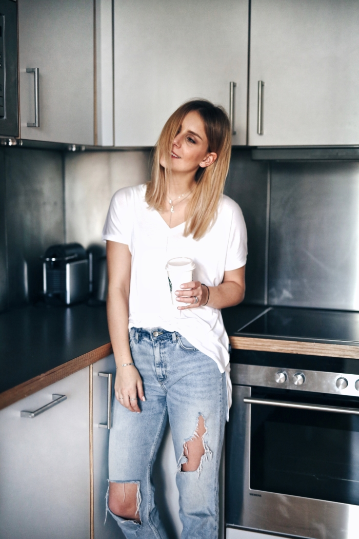 apartment, kitchen, white shirt, jeans