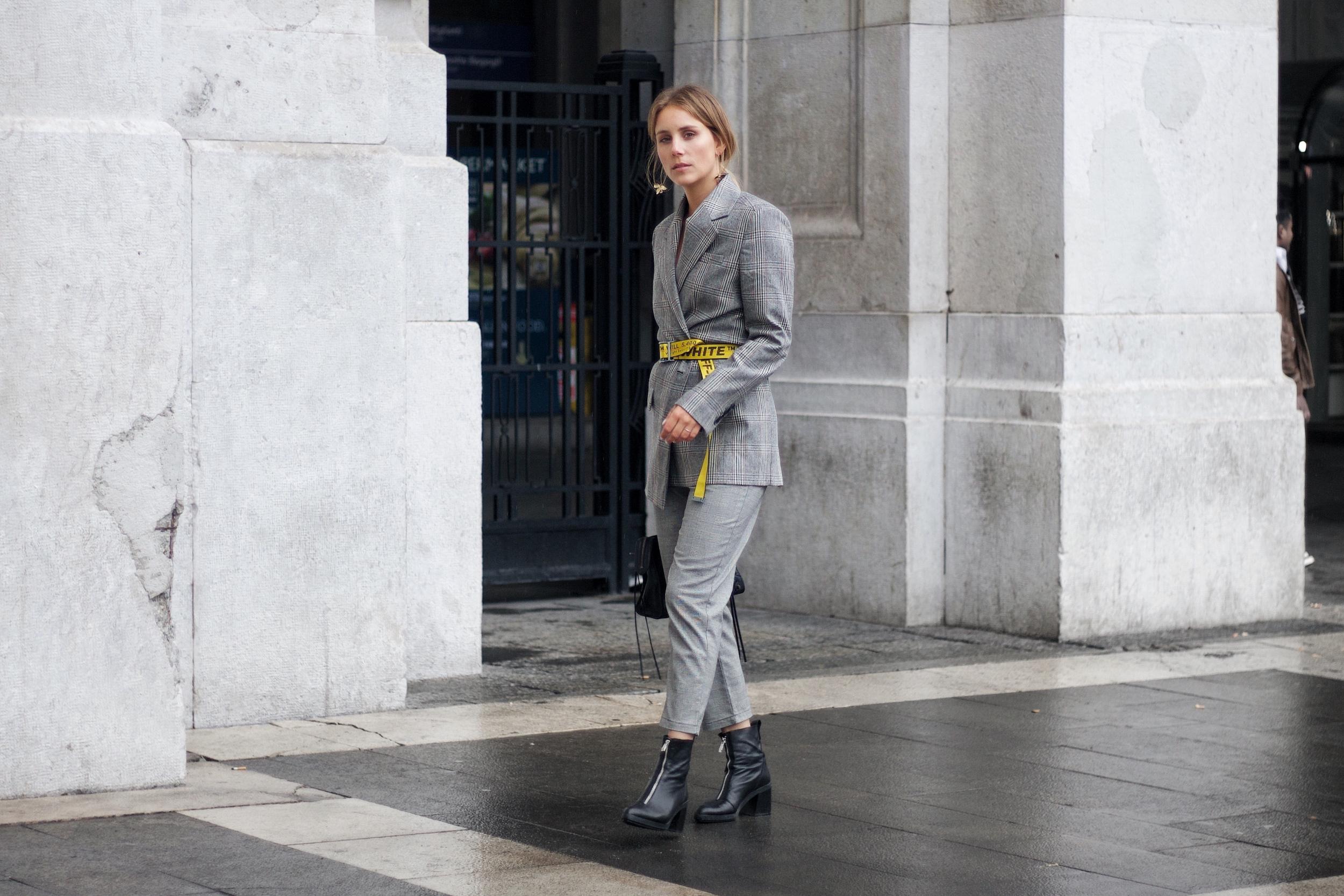 Oversized Blazer, Off-White Gürtel: How to style your boyfriends clothes