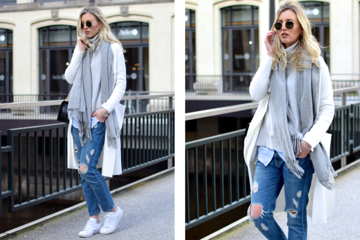 ripped jeans mit sneakers