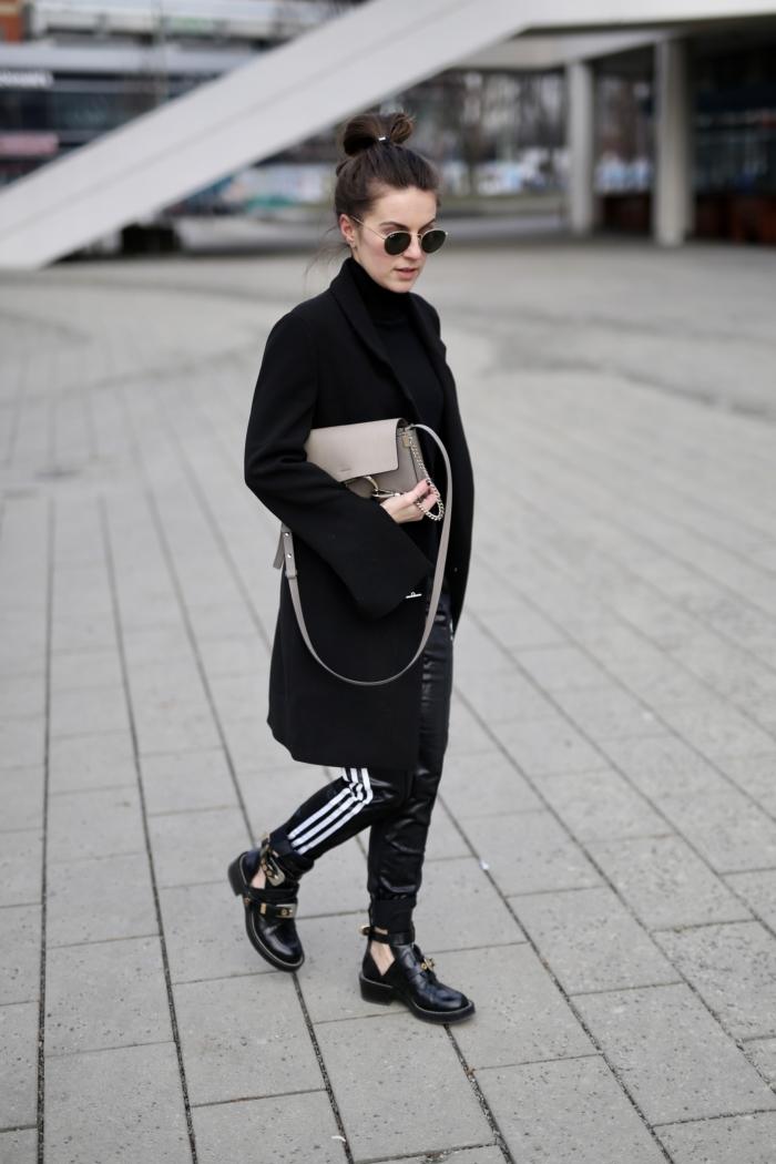 adidas sweatpants, berlin fashion week, black long blazer, sunglasses