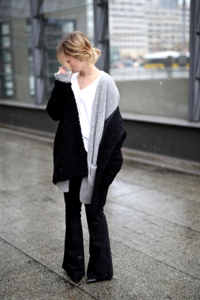 grey cardigan, black coat, white shirt, black embroidered flare pants