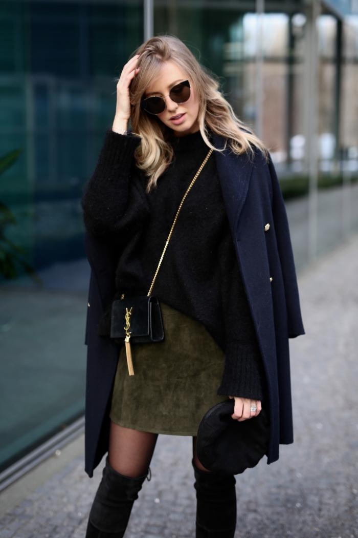 suede skirt, black woolen coat, cozy sweater, sunglasses