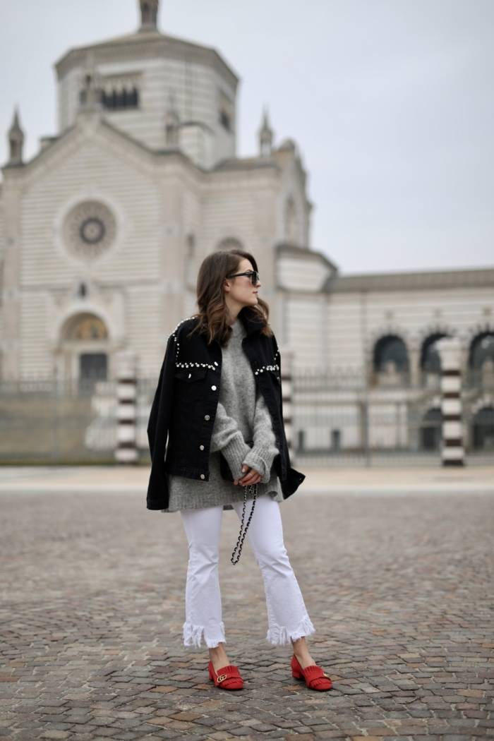 pinko jacket, white pants, red gucci loafer