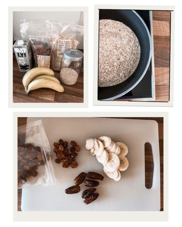 Porridge Zutaten Banane Haferflocken Milch Obst