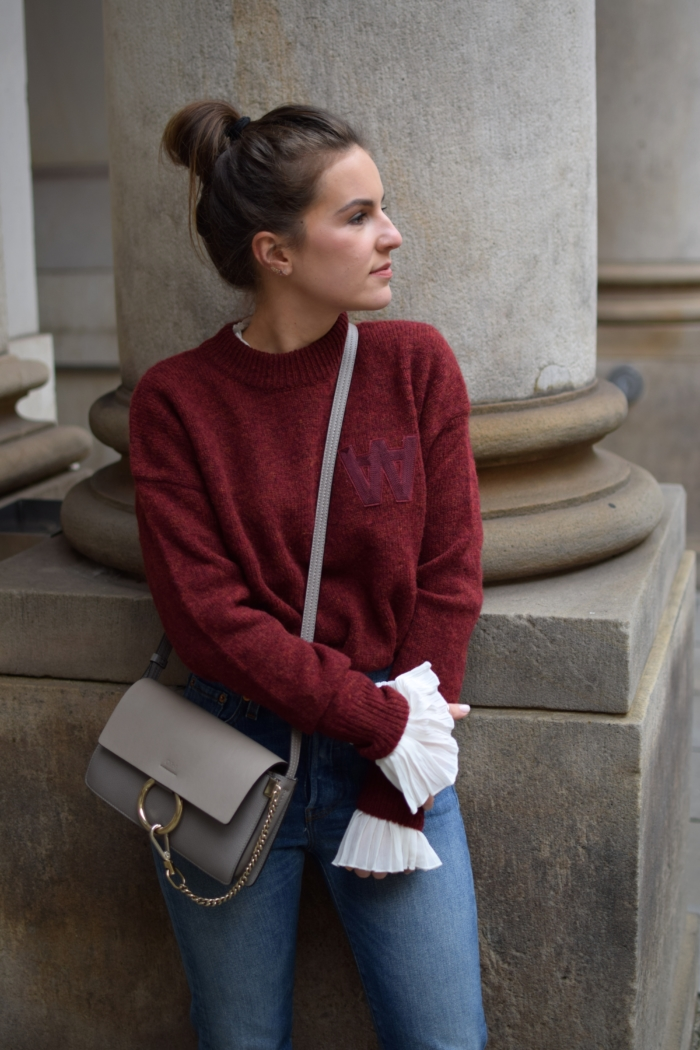 red sweater, white blouse, cloé bag