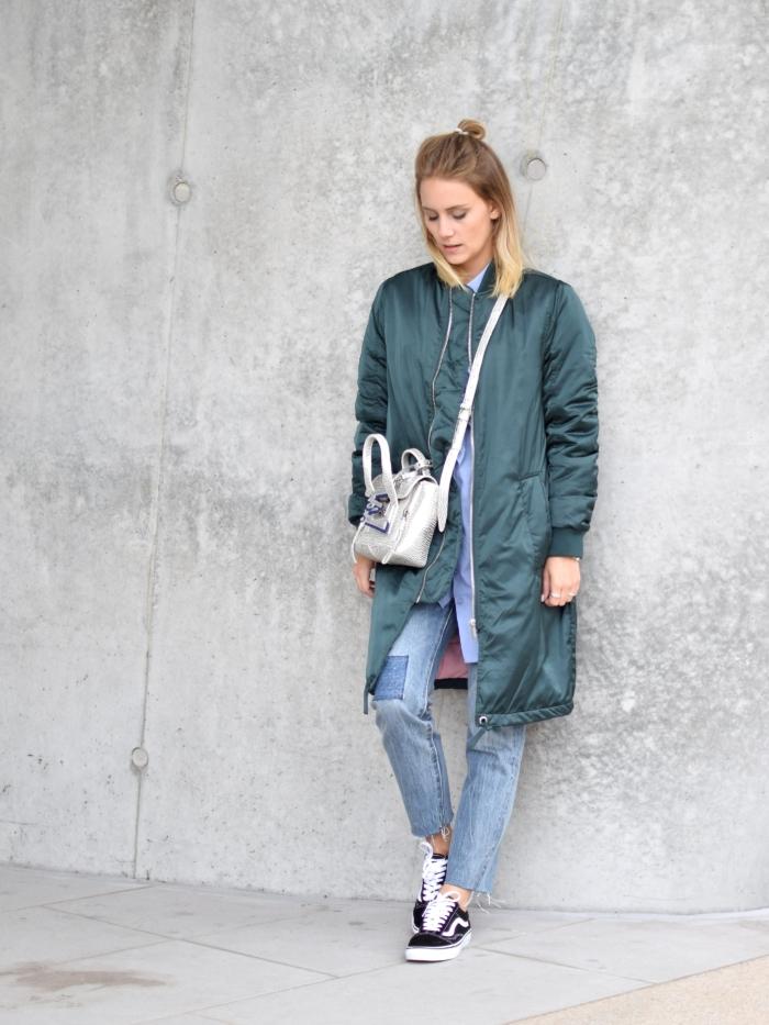 Herbst Look, oversized Jacke, Jeans