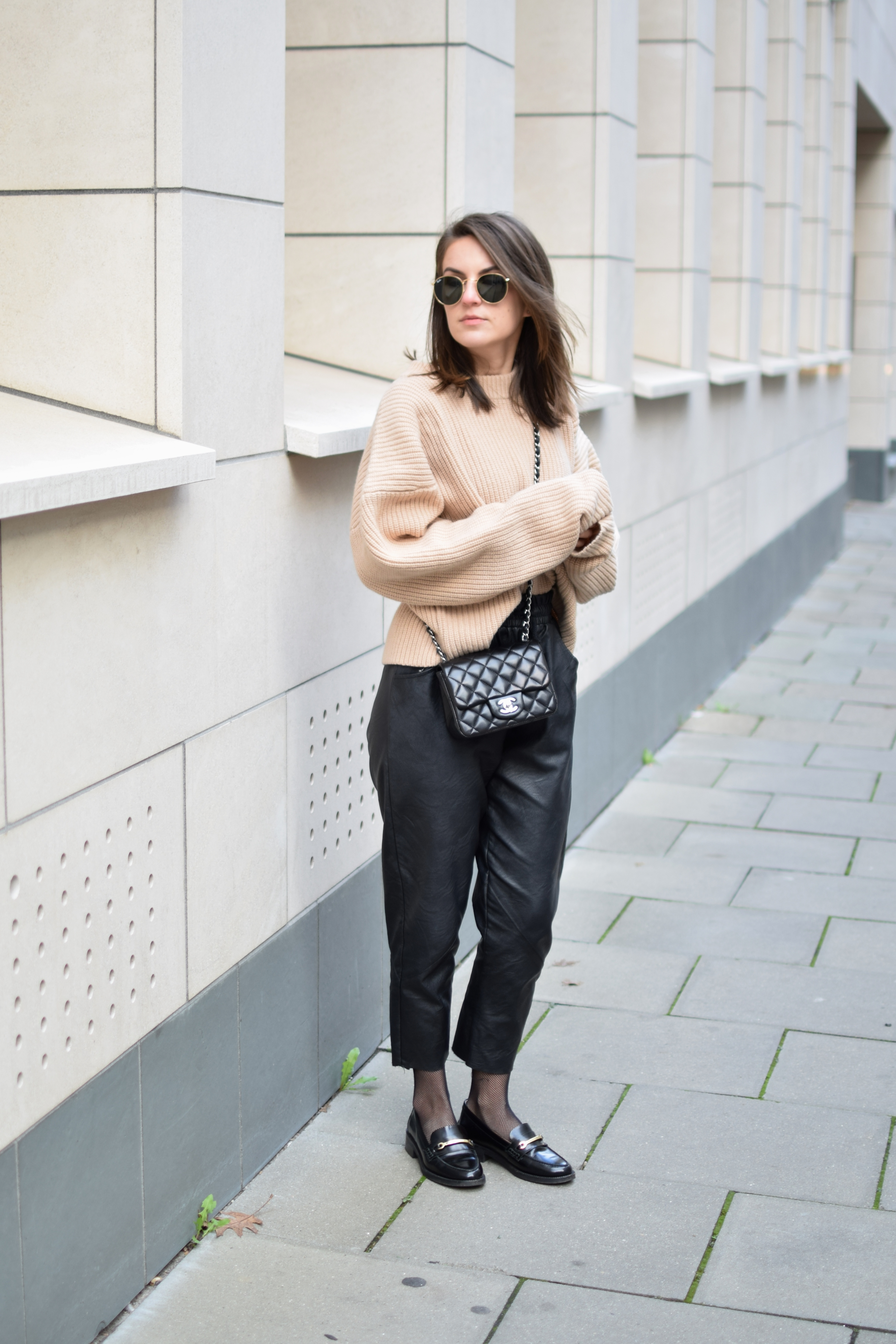 d49179061afb26 leather pants chanel bag black nude fall - Shoppisticated