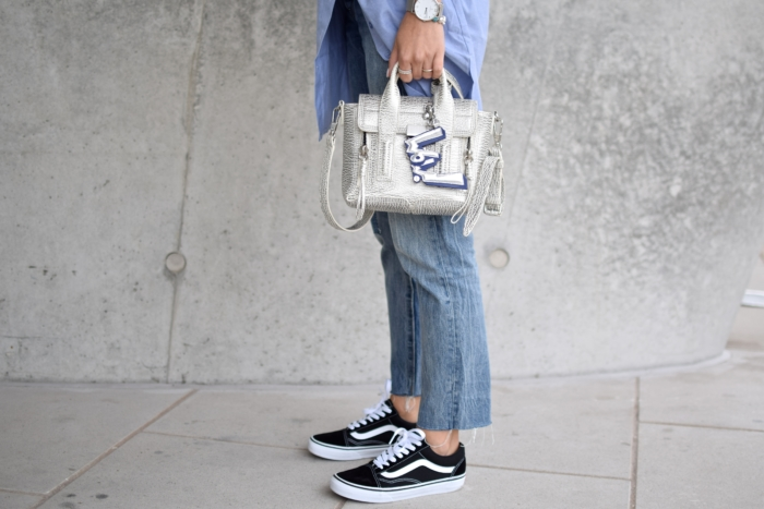 statement bag, levis wedgie jeans, vans old skool