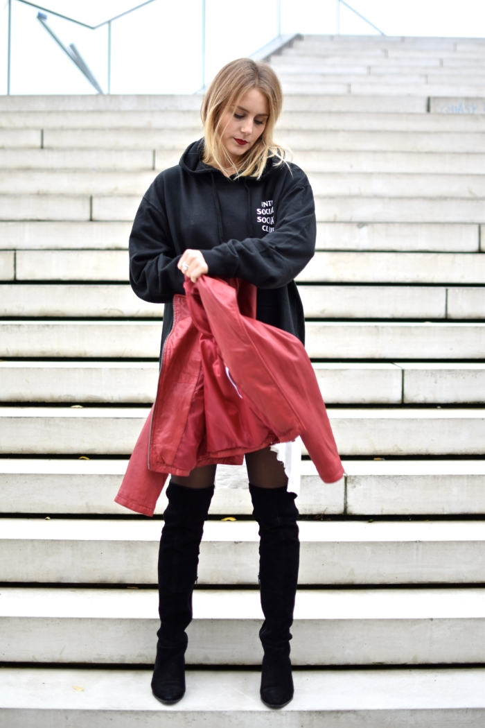 red leather jacket, black sweater, black overknee boots