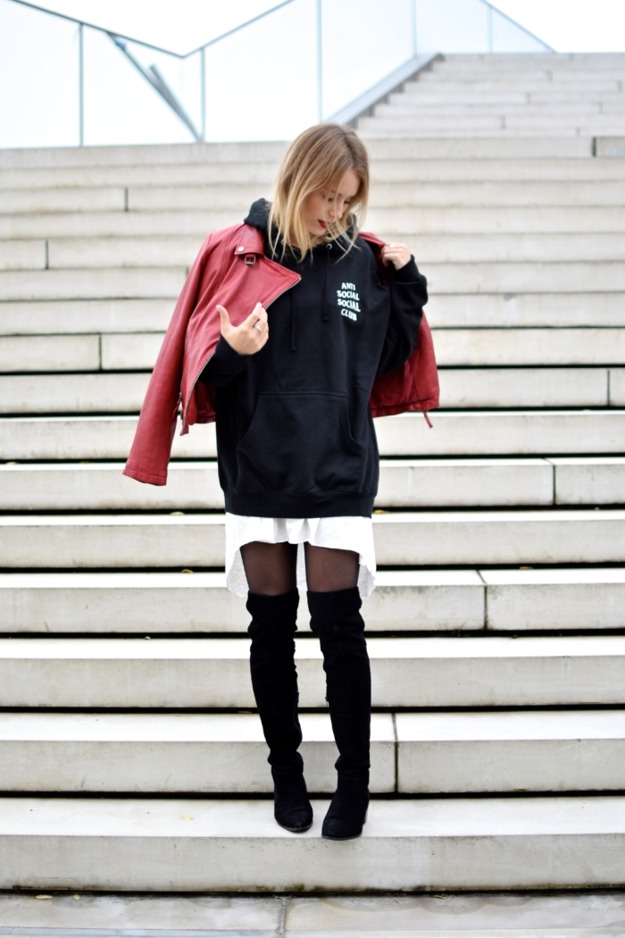 streetstyle, hoodie, red biker jacket, overknee boots