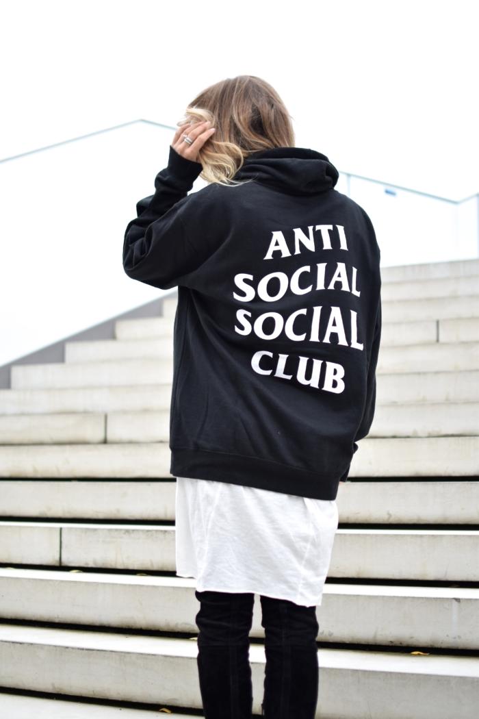 Hoodie Anti Social Club, white longshirt
