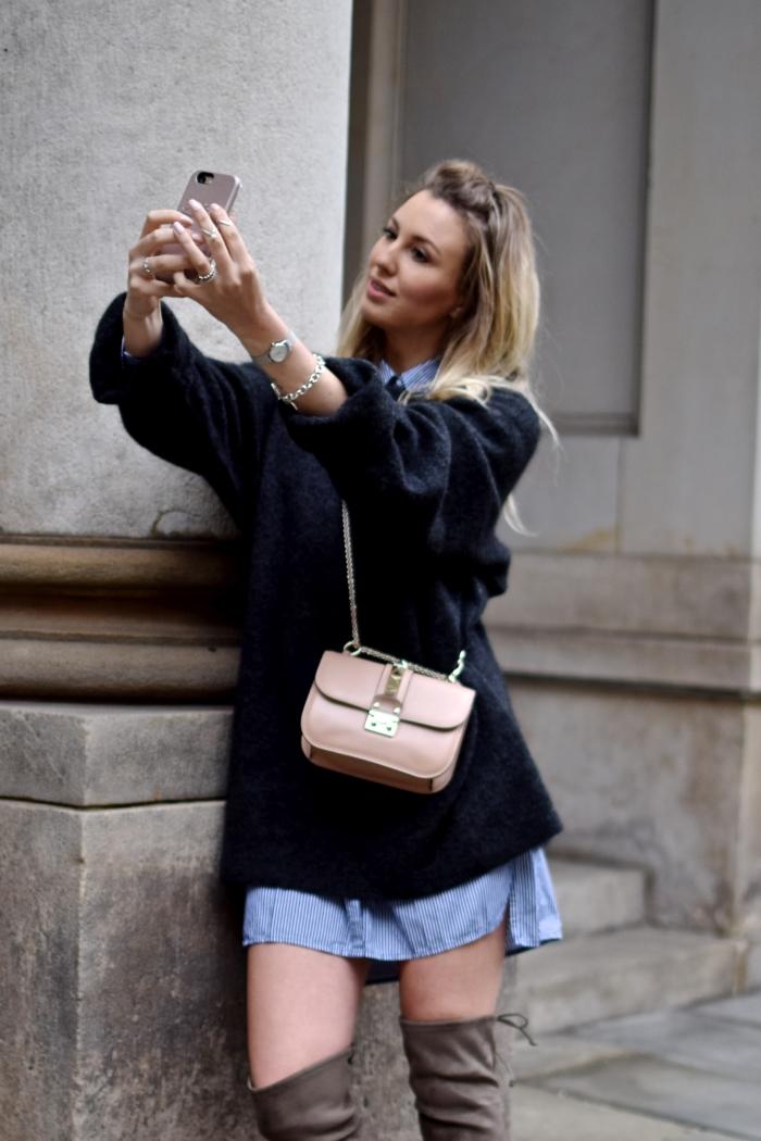 selfie, smartphone, sweater, demin dress