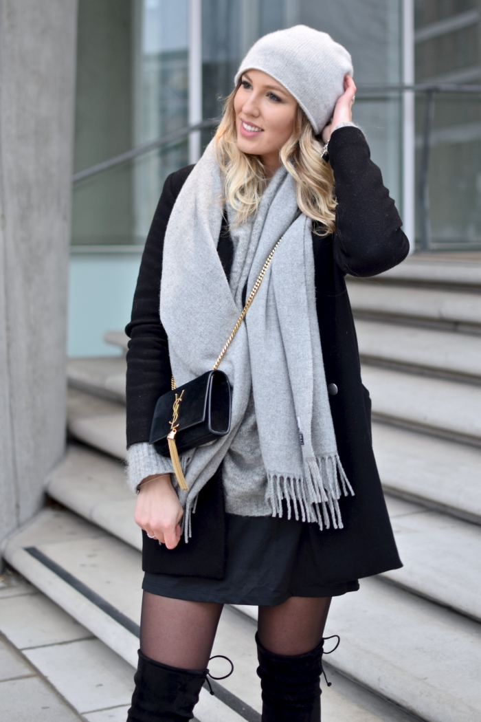 black wool coat, grey scarf and hat, black purse