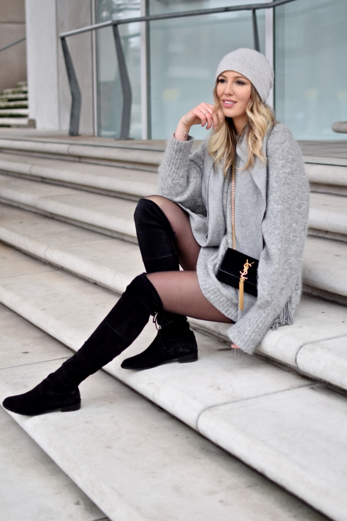 stairs, grey oversized sweater, black overknee boots
