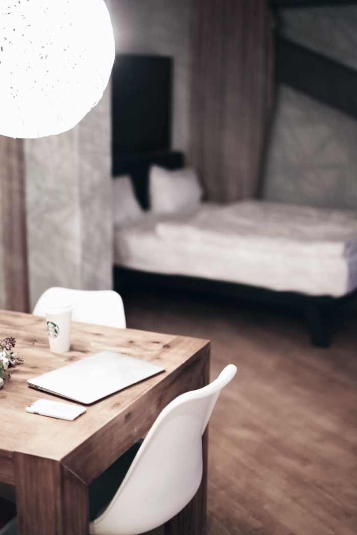 apartment, travel, bedroom, wooden table, chairs