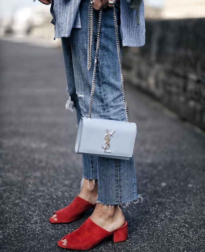 YSL, Mules, Rippes Jeans