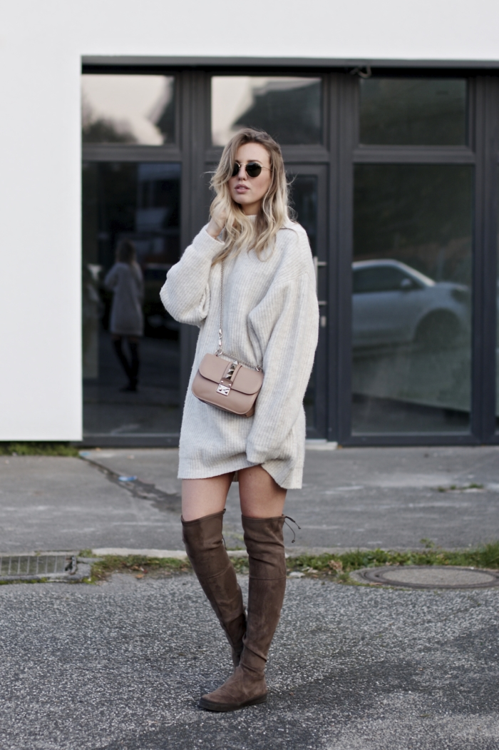 long knit dress, brown overknee boots, valentino bag