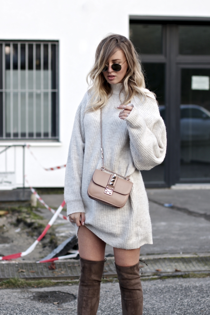 oversized knit sweater, valentino studded bag