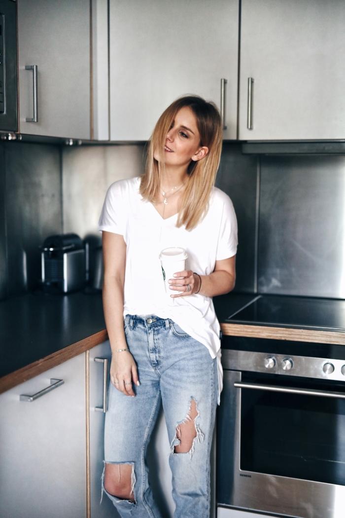 apartment, kitchen, white shirt, jeans